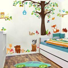 Details zu Wandtattoo Wandsticker Tiere Wald Baum Spielzimmer Affe ...