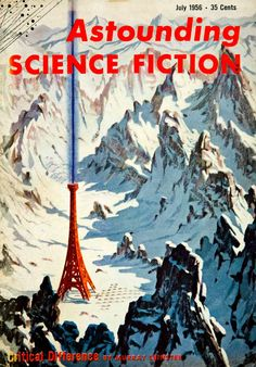 Please note that this is a cover only! This is an original color cover for Astounding Science Fiction, July, 1956 that featured artwork for author Murray Leinster's short story entitled, Critical Diff