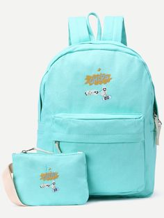 86d15df137 Shop Blue Front Zipper Canvas Backpack With Clutch online. SheIn offers Blue…  Canvas Backpack