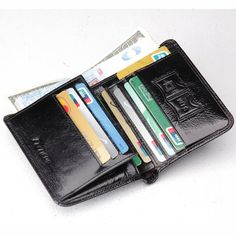 Homme en cuir court Wallet Bank carte de sécurité Frequency Identification RFID Block