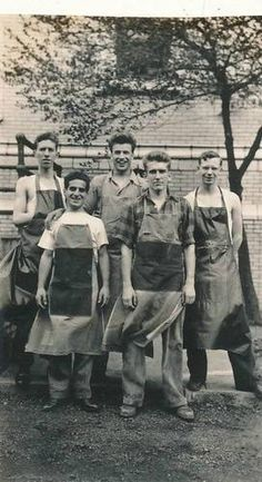 Vintage Photo Group Working Young Men Pose in Occupational Aprons | eBay