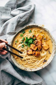 Homemade Spicy Ramen recipe - with a homemade spicy miso paste for the broth, poured over the BEST ramen noodles. Vegetarian / vegan.| pinchofyum.com