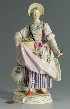 Lot 131: Meissen Porcelain Figure of a Lady with Flowers