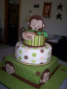 Love the monkey theme. I just might have to make some variation of the cake for my monkey's 1st birthday :)