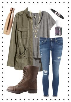 """""""Day 2: cookout 🍂"""" by ab1525 ❤ liked on Polyvore featuring H&M, AG Adriano Goldschmied, Charlotte Russe, S'well, Essie, Maybelline and emilysfallcontest"""