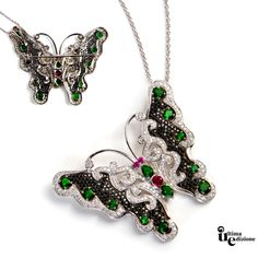 #Pendente colorato farfalla, tempestato di zirconi verde smeraldo e rosso rubino. Per un look #glamour.  This colorful and shiny butterfly #pendant, features a black zircons pave, dotted with some green emerald and ruby cubic #zirconia, profiled by a white pave', which bring a touch of glamour.  #Jewel #Fashion #madeinitaly #musthave #mustsee