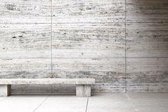 Mies Van der Rohe - Barcelona Pavilion Space Architecture, Architecture Details, Luigi Snozzi, Barcelona Pavilion, Stone Facade, Stone Bench, Ludwig Mies Van Der Rohe, Weekend House, Landscape Walls