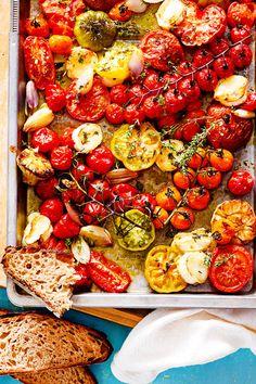 Blechtomaten mit Knobi - So einfach, so gut #Tomaten aus dem Ofen mit Käse und #Knoblauch