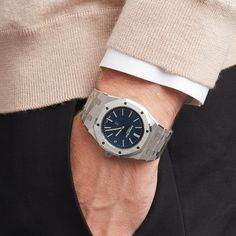 This is a pre-owned Audemars Piguet Royal Oak Jumbo Extra-Thin Men's case size in Stainless Steel with Blue Baton dial - Audemars Piguet Diver, Audemars Piguet Watches, Audemars Piguet Royal Oak, Used Watches, Cool Watches, Rolex Watches, Stylish Watches, Luxury Watches For Men, Ap Royal Oak