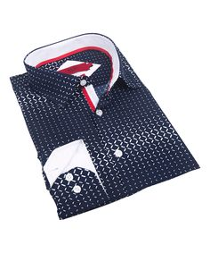 Navy & White Diamond Contrast-Cuff Button-Up - Toddler & Boys