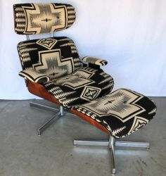 Jacquard fabric - Brocade and Damask are types of jacquard woven fabric. (Black and White Navajo Eames Style Recliner and Ottoman) Eames, Chair And Ottoman, Chair Cushions, Home Living, Decoration, Home Accessories, Mid-century Modern, Upholstery, Furniture Design