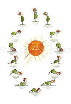 Saludo al sol Yoga Poster por artractions en Etsy