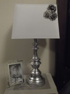 DIY Lamp Makeover. This Lamp Base Was An Ugly Gold, I Found It At The  Thrift Store For $4, I Then Sanded Slightly And Used Spray Paint Silver  Foil On The ...