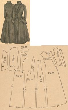 Der Bazar 1889: Black striped woollen springtime coat; 22. bodice lining, 23. front part, 24. and 25. side gores, 26. back part, 27. collar in half size, 28. and 29. sleeve parts