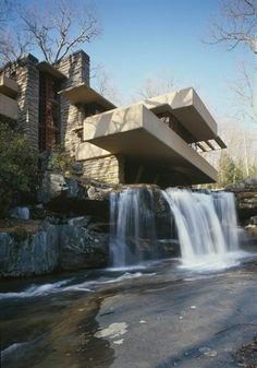 "Frank Lloyd Wright, ""Fallingwater"", Kaufman Residence. 1936-39, Bear Run Creek in Mill Run, PA."
