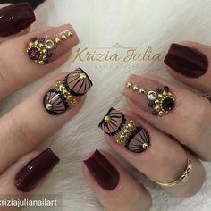 Perfect for glam autumn :) Beautiful Nail Art, Gorgeous Nails, Love Nails, Pretty Nails, Gel Nails, Acrylic Nails, Modern Nails, Luxury Nails, Diamond Nails