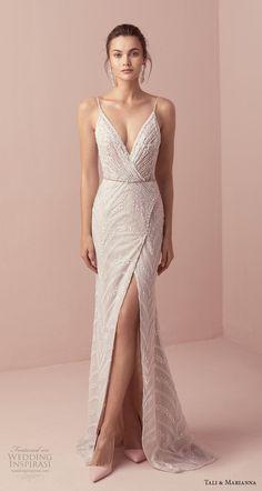 687a86a2 tali & marianna 2018 bridal sleeveless spaghetti strap v neck wrap over  full embellishment slit