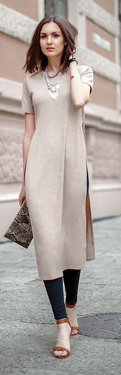 Beige Rigged Long Dress Summer Style. women fashion outfit clothing style apparel @roressclothes closet ideas