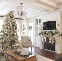 Elegant White Christmas Family Room Details - Randi Garrett Design