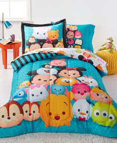 The bright, vibrant look of Disney's Tsum Tsum Teal Stacks twin comforter sets bring your little one the ultimate in adorable bedding style. | Polyester | Machine washable | Imported | Comforter measu