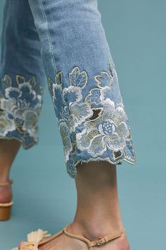 Slide View: 4: Pilcro Embroidered High-Rise Cropped Bootcut Jeans