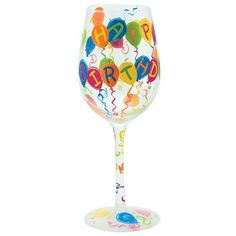 Santa Barbara Design Studio CGLS115517E Lolita Love My Wine Hand Painted Glass Birthday Balloons ** To view further for this item, visit the image link.Note:It is affiliate link to Amazon.