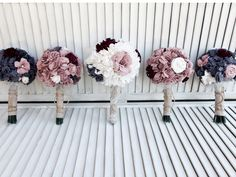 love these Fabric bouquets! same kind of materials, different colors.
