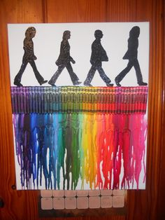 Beatles Melted Crayon Painting by OnceUponACrayon on Etsy, $35.00