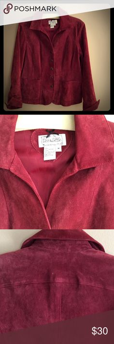 Live A Little Suede Jacket Stylish 'Live A Little' suede jacket with snaps. Color is between a burgundy and cranberry. In very good condition Live A Little Jackets & Coats