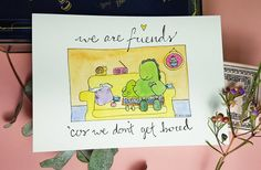 Cute funny greeting illustration card