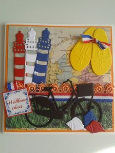 Hollandkaart met vuurtorens.fiets en gele klompen