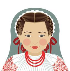 This is my Croatian Girl Matryoshka (aka- babushka, nesting doll, Russian doll, stacking doll) a print of an original illustration by me, Amy Art Mur, Adoption Gifts, Art Carte, Russian Culture, Cultural Identity, Thinking Day, Baby Shower, Art Wall Kids, Traditional Dresses