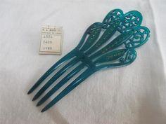 VINTAGE 1920's ART DECO BRIGHT GREEN CELLULOID & RHINESTONE HAIR COMB | eBay