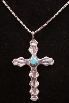 b27f082ae02 Native American Royston Turquoise Hand Etched Sterling Silver Cross ~ 2.1