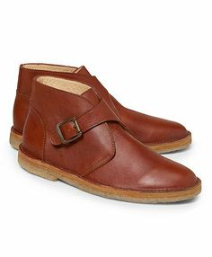 Leather Monk Strap Desert Boots #brooksbrothers