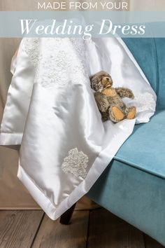 Baby Christening Outfit, Christening Blanket, Christening Gowns, Wedding Dress Quilt, Old Wedding Dresses, Bear Wedding, Baby Keepsake, Baby Love, Baby Dress