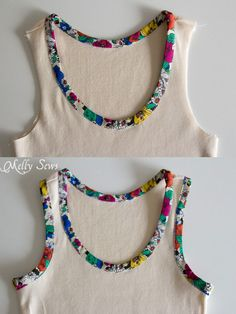 Step 5 - Bias Trim Tank Top Tutorial with free pattern - Melly Sews - Cute idea for trimming a tank top