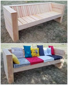 gorgeous 49 Perfect Diy Wood Pallet Sofa Design Ideas You Can Create At Home Today Pallet Furniture Bench, Pallet Garden Benches, Wood Pallet Planters, Pallet Dining Table, Pallet Lounge, Diy Pallet Sofa, Diy Pallet Projects, Wood Pallets, Pallet Ideas