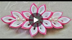 DIY flores Kanzashi de fondant with double flower petals fondant Satin Ribbon Flowers, Cloth Flowers, Ribbon Art, Ribbon Crafts, Diy Ribbon, Diy Flowers, Fabric Flowers, Diy Crafts, Flower Diy