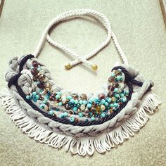 blue and gray handmade necklace african style blue perline
