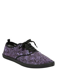 Disney Alice In Wonderland Purple & Black Cheshire Cat Lace-Up Sneakers, PURPLE