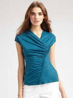 assymetrical shirred top