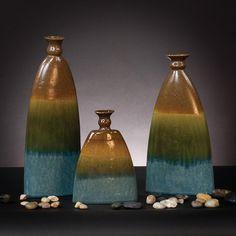 Howard Elliott Pewter, Blue and Green Ceramic Vases