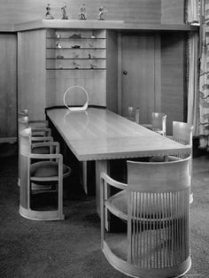 Photographic Print: Dining Room Table and Chairs Designed by Architect Frank Lloyd Wright by Frank Scherschel : 24x18in