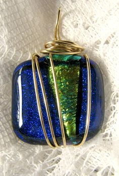Wire Wrapped Fused Glass Pendant