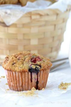 Rhubarb Berry Yogurt Muffins