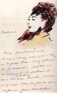 Doodle letters: Manet, 1880  (wouldn't you love a letter who have so much talent, I mean, every letter or note would a piece of art)