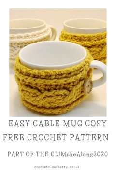 Easy Crochet Cable Mug Cosy - free pattern | Crochet Cloudberry Crochet Mug Cozy, Crochet Cable, Double Crochet, Easy Crochet, Crochet Hooks, Free Crochet, Autumn Crochet, Crochet Christmas Gifts, Crochet Gifts