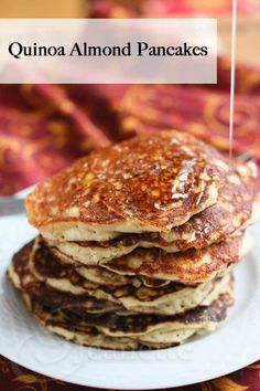 Gluten-Free Quinoa Almond Flour Pancakes Recipe - so easy - everything (including cooked quinoa) is mixed together in your blender so you can pour the batter right into the hot skillet to make these delicious pancakes ~ http://jeanetteshealthyliving.com