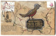 Birdie label ~ cute mail art by jean from pushing the envelopes